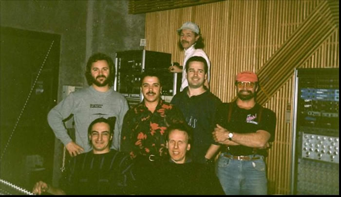Streetboy, during sessions at the legendary recording facility, Le Studio, Morin Heights. L-R: back of shot; Floyd Bell, middle row; L-R: Peter Beaudoin, Charlie Grassi, Steve, Ron Henry; Front Row: Peter Fredette, Jack Blyth